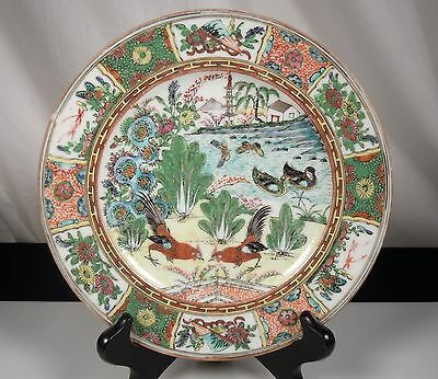 Chinese Famille Rose Export Porcelain Plate -Roosters -Cabbage
