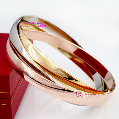 Real Solid 18k Rose Yellow White Gold GF Interlock Lady Women Bangle Bracelet