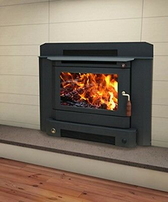 Wood Heater Ecomaxx Classic Zero Clearance Inbuilt - Metallic Black Fireplace