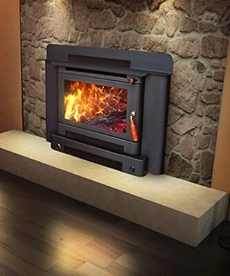 Wood Heater Ecomaxx Premium Zero Clearance Inbuilt - Metallic Black Fireplace
