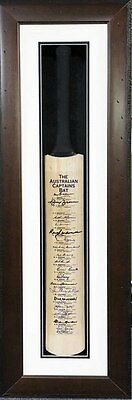 The Australian Captains Bat Signed Framed Bradman Benaud Taylor with COA