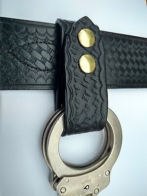 Basketweave Handcuffs Strap Holder, Fits 2 1/4'' Duty Belt (Brass Snaps)