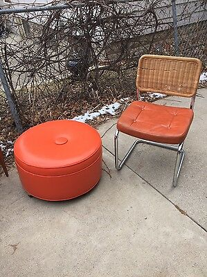 Large Mid Century Bright Orange Vinyl Footstool Ottoman ,Fantastic Color!