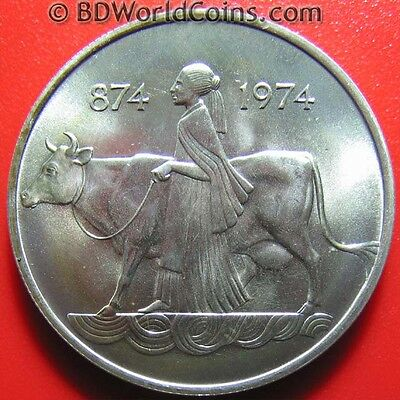 1974 ICELAND 500 KRONUR SILVER SETTLEMENT WOMAN COW EAGLE DRAGON BULL GIANT 35mm