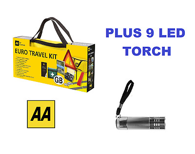 AA Car Euro Travel Kit - Required If Driving Abroad & 9 LED Aluminium Torch