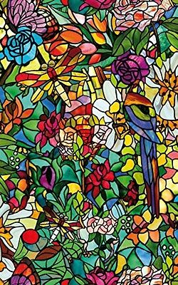 Beautiful Window Cling Faux Stained Glass Film Dragonfly Bugs Flowers Birds