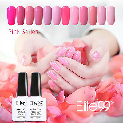 Elite99 Esmalte de Uña Gel Polish Color Rosado Base Top Coat Manicura Arte 10ml