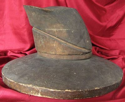 1800s ANTIQUE NAPOLEONIC ERA WOODEN HATBLOCK MOULD FOR MILITARY HATS XTR. RARE