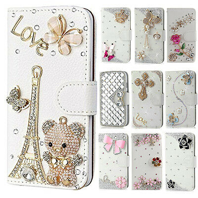 US Luxury PU Leather Wallet Case Bling Crystal Diamond Cover For Samsung Phones