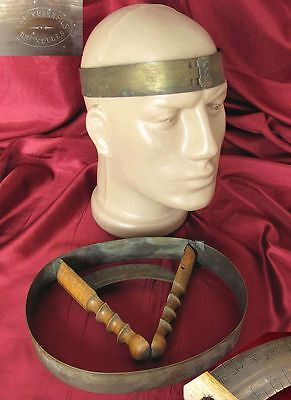 19C. Antique Wood & Bronze Instrument For Head Hat Girt Measurment Marked