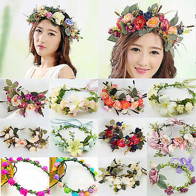 UP Women Wedding Big Flower Wreath Crown Headband Floral Garlands Hair band