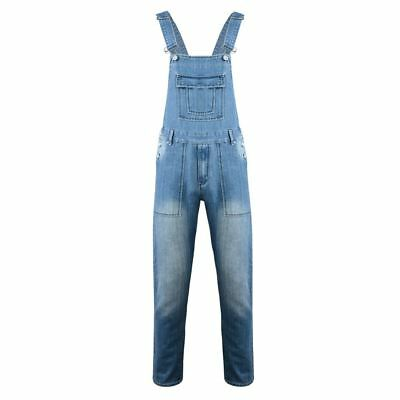 KAM Mens Denim Dungarees in Mid Wash (403) in Size 40 to 60 Inches