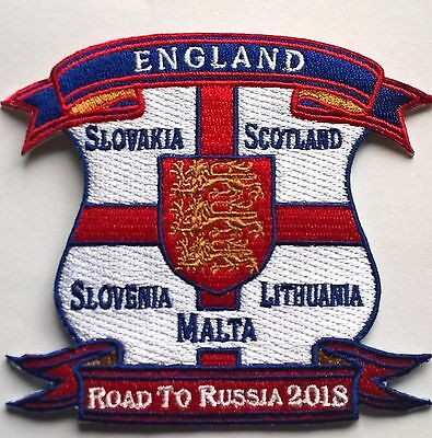 England Road To Russia 2018 World Cup Embroidered Iron On / Sew On Patch Badge