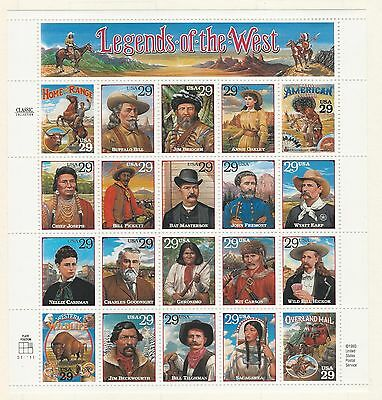 Usa: 1993; Scott 2869 Pane of 20 legends of the west, mint NH. US023