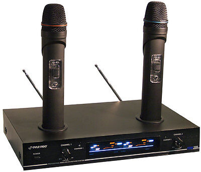Pyle PDWM3000 Dual / Twin VHF Rechargeable Wireless Microphone Mic System Kit