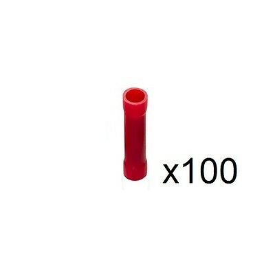 100x 4mm PVC Insulated Red Butt Connectors (Conductor Size 1.5mm²) RBC4