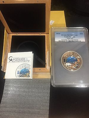 2014 $10 Cook Islands Nano Sea .925 Silver Colored Proof Coin w/ Nano Chip