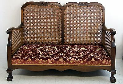 A Very Attractive Antique Mahogany Bergere Claw And Ball Petite 3 Piece Suite