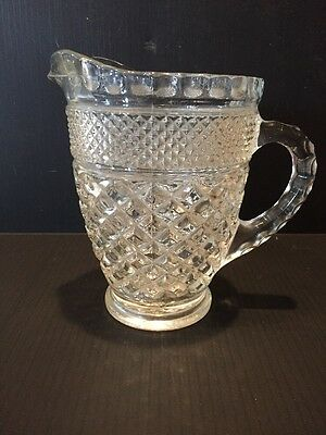 B22) Vintage Small Pressed Glass Pitcher With Diamond Pattern and Ribbed Handle