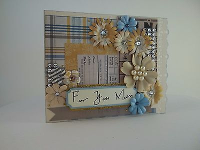 For You Mom Blue and Beige Mother's Day Blank Inside Handmade Greeting Card