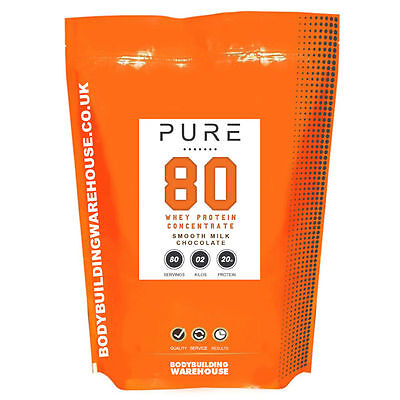 PURE Whey Protein Concentrate 80; 100% Grass Fed; 1kg/2kg Bodybuilding Warehouse