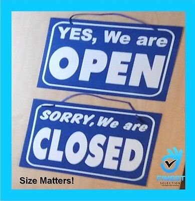 Big Open / Closed Hanging Shop Sign / Restaurant - Opening Time - Blue