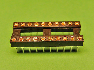 6x IC SOCKET 20 pin Turned Pin Gold Plated PCB DIL 0.3""