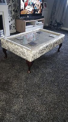 xxl fabric glass top coffee table footstool fully upholstered mirrored glass
