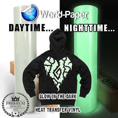 "Heat Transfer Vinyl - Glow in the Dark 15"" x 1 Foot (HTV)  Roll"