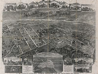 1898 Aerial View Of National Prohibition Park, Staten Island, Ny Copy Poster Map