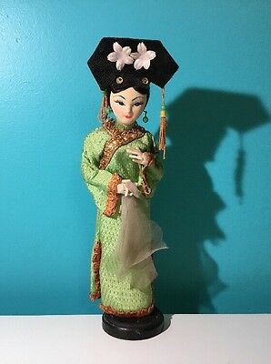 "Vintage Oriental Japanese Doll Traditional Geisha 10"" Cloth Graduation Outfit"