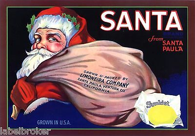 Lemon Crate Label Santa Claus Vintage Santa Paula Ventura California 1930S