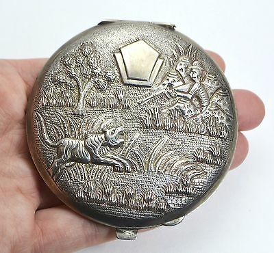 Antique SOLID SILVER Ornate Indian TIGER & HUNTER Raj Era Powder COMPACT - 103g