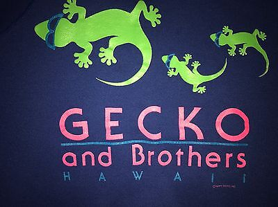 Vintage 80s GECKO AND BROTHERS HAWAII Crewneck Sweatshirt Blue Youth Medium