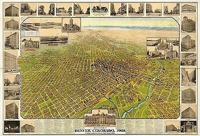 1908 Bird's Eye View Of Denver, Colorado, Copy Poster Map