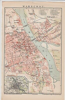 c.1890 POLAND WARSAU City Plan Antique Map
