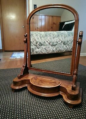 Antique Rare Burled Wood Mirrored Shaving Stand With flip up compartment