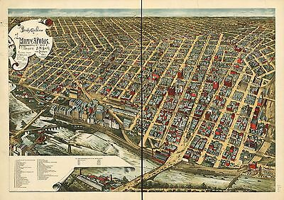 1891 A.m. Smith, Bird's Eye View Of Minneapolis, Minnesota, Copy Poster Map
