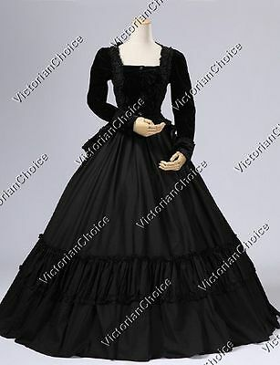 Black Victorian Witch Sorceress Dress Theater Ghost Punk Halloween Costume 134