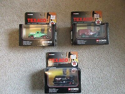 CORGI Texaco Die-cast Metal trucks.  Collection of 3 different vehicles.  NEW