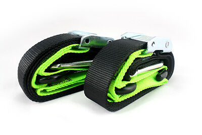 Gorillas grip 38mm motorcycle tie downs straps soft loop snap hook black / green