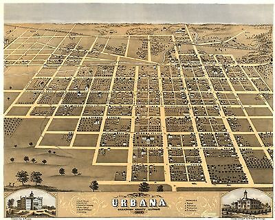 1869 Bird's Eye View Of Urbana, Champaign County, Illinois, Copy Poster Map