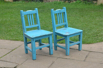 2x vintage wooden chairs childs chair small old wooden chair - FREE POSTAGE
