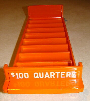 Plastic Coin Roll Tray Holder 10 Rolls $100 Quarter Orange Color Coin Storage