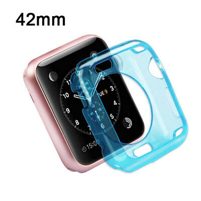 For Apple Watch 42mm Edition Transparent Baby Blue Candy Skin Protective Cover