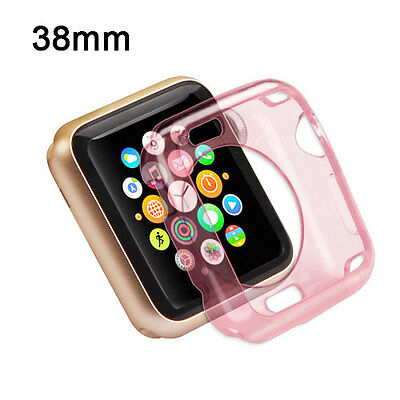 For Apple Watch 38mm Edition Transparent Pink Gel Candy Skin Case Cover