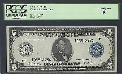 Fr.877 1914 $5 BOSTON FRN FEDERAL RESERVE NOTE PCGS 40 XF BURKE GLASS SIGNATURES