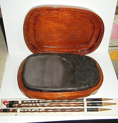 Vtg New Chinese Calligraphy Dragon Ink Stone Well Slab In Wooden Box & Brushes