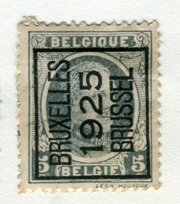 BELGIUM;  1925 Boxed Brussel Optd. on definitive issue 5c. Mint hinged