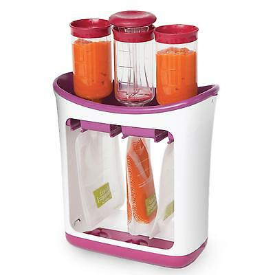 New Infantino Fresh Squeezed Squeeze Station & 10 Baby Food Storage Pouches